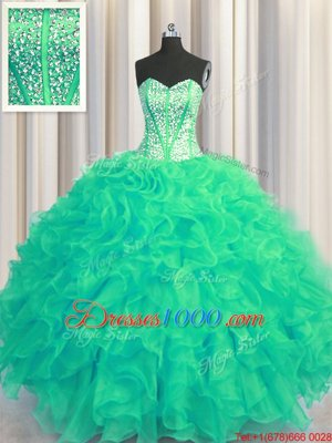 Visible Boning Beaded Bodice Sweetheart Sleeveless Lace Up Sweet 16 Quinceanera Dress Turquoise Organza