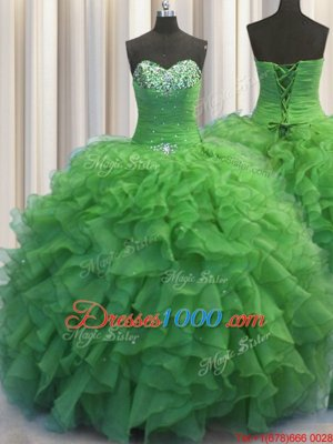 Suitable Beaded Bust Green Sweetheart Neckline Beading and Ruffles Quinceanera Gowns Sleeveless Lace Up