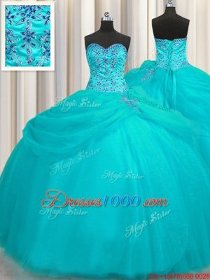 Puffy Skirt Sweetheart Sleeveless Lace Up 15 Quinceanera Dress Aqua Blue Organza