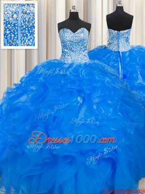 Custom Design Visible Boning Beaded Bodice Blue Sweet 16 Dresses Military Ball and Sweet 16 and Quinceanera and For with Beading and Ruffles Sweetheart Sleeveless Lace Up