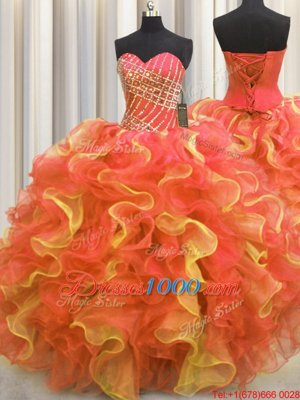 Deluxe Leopard V Neck Multi-color Organza Lace Up Quinceanera Dress Sleeveless Floor Length Beading and Ruffles