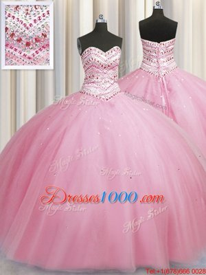 Custom Made Bling-bling Big Puffy Sleeveless Beading Lace Up 15 Quinceanera Dress