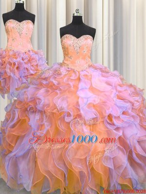 Fancy Three Piece Organza Sleeveless Floor Length 15 Quinceanera Dress and Beading and Appliques and Ruffles