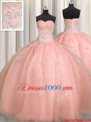 Puffy Skirt Watermelon Red Ball Gowns Beading and Appliques 15th Birthday Dress Zipper Organza Sleeveless Floor Length