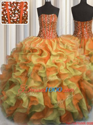 Super Visible Boning Beaded Bodice Floor Length Multi-color Quinceanera Gowns Strapless Sleeveless Lace Up