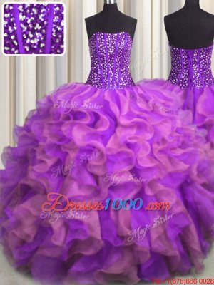 Fashion Visible Boning Beaded Bodice Multi-color Strapless Neckline Beading and Ruffles Vestidos de Quinceanera Sleeveless Lace Up