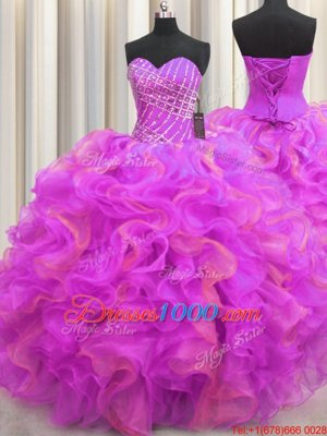 Leopard Two Tone V Neck Multi-color Sleeveless Floor Length Beading and Ruffles Lace Up Sweet 16 Quinceanera Dress