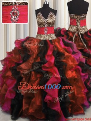 Beautiful Leopard Multi-color V-neck Neckline Beading and Ruffles Quinceanera Dress Sleeveless Lace Up