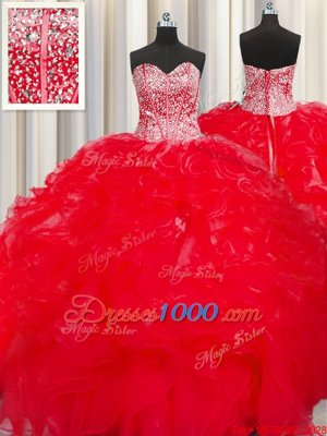 Pretty Visible Boning Beaded Bodice Sweetheart Sleeveless Organza Quinceanera Dress Beading and Ruffles Lace Up
