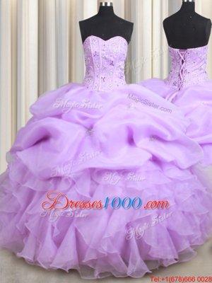 Modest Aqua Blue Sleeveless Floor Length Beading and Ruffles Lace Up Sweet 16 Quinceanera Dress