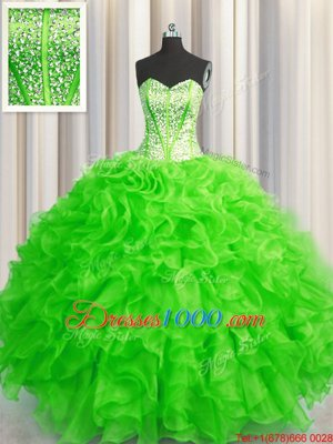 Cute Visible Boning Beaded Bodice Floor Length Sweet 16 Dress Organza Sleeveless Beading and Ruffles
