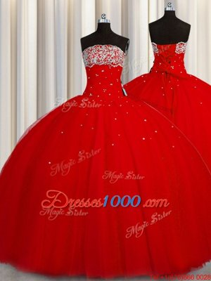 Puffy Skirt Red Ball Gowns Organza Strapless Sleeveless Beading and Sequins Floor Length Lace Up Quinceanera Gown