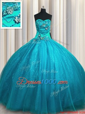 Great Sleeveless Tulle and Sequined Floor Length Lace Up 15 Quinceanera Dress in Teal for with Beading and Appliques