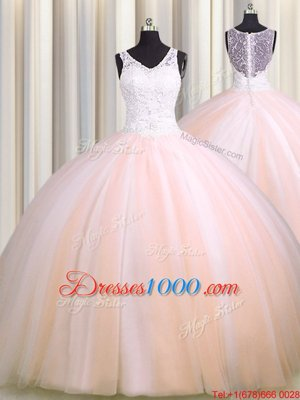 Fashion See Through Back Zipple Up Baby Pink and Peach Sleeveless Brush Train Beading and Appliques Sweet 16 Dress