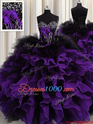 Fancy Black And Purple Lace Up Sweetheart Beading and Ruffles Sweet 16 Dress Organza and Tulle Sleeveless