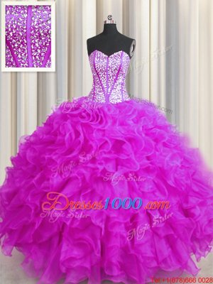 New Style Visible Boning Beaded Bodice Fuchsia Lace Up Quinceanera Gown Beading and Ruffles Sleeveless Floor Length