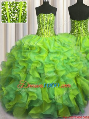 Visible Boning Beaded Bodice Floor Length Lace Up 15 Quinceanera Dress Multi-color and In for Military Ball and Sweet 16 and Quinceanera with Beading and Ruffles