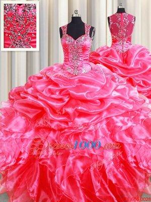 Pick Ups Zipper Up See Through Back Floor Length Hot Pink Quinceanera Dresses Straps Sleeveless Zipper