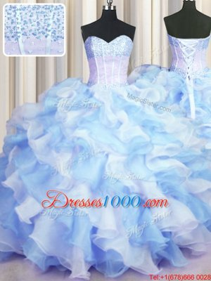 Inexpensive Two Tone Visible Boning Blue And White Ball Gowns Sweetheart Sleeveless Organza Floor Length Lace Up Beading and Ruffles 15th Birthday Dress