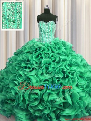 Visible Boning Turquoise Lace Up Sweetheart Beading and Ruffles Quinceanera Gowns Organza Sleeveless