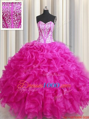 Suitable Visible Boning Bling-bling Organza Sweetheart Sleeveless Lace Up Beading and Ruffles Sweet 16 Dresses in Hot Pink