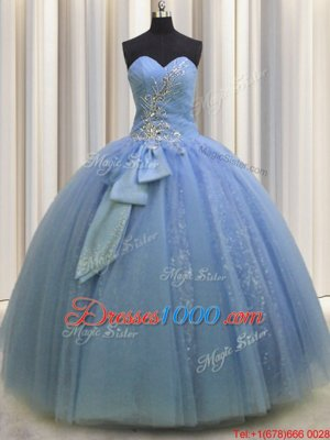 Cute Floor Length Light Blue Quinceanera Gown Tulle Sleeveless Beading and Sequins and Bowknot
