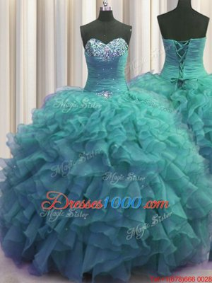 Exceptional Beaded Bust Turquoise Sleeveless Beading and Ruffles Floor Length Ball Gown Prom Dress