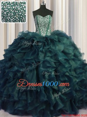 Simple Visible Boning Bling-bling With Train Lace Up Sweet 16 Dresses Peacock Green and In for Military Ball and Sweet 16 and Quinceanera with Beading and Ruffles Brush Train