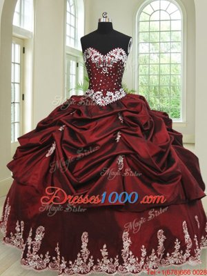 Latest Pick Ups Ball Gowns Quinceanera Gown Wine Red Sweetheart Taffeta Sleeveless Floor Length Lace Up