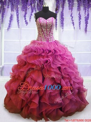 Sleeveless Beading and Ruffles Lace Up Quinceanera Gowns