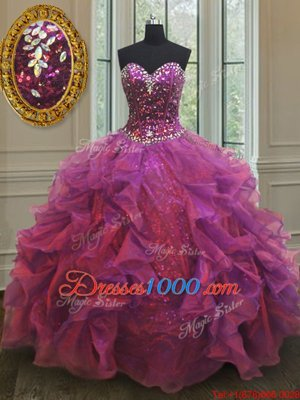 Cute Sleeveless Floor Length Beading and Ruffles Lace Up Sweet 16 Dress with Purple