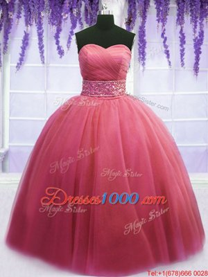 Pink Lace Up Ball Gown Prom Dress Beading and Belt Sleeveless Floor Length
