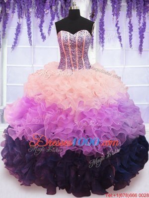 Multi-color Organza Lace Up Sweetheart Sleeveless Floor Length 15th Birthday Dress Beading and Ruffles and Ruffled Layers