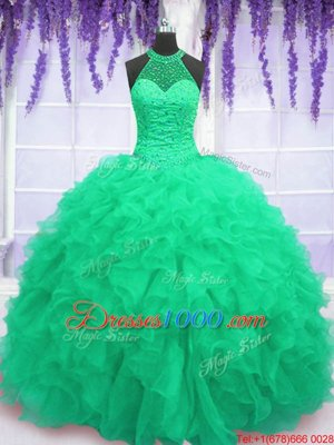 Admirable Sleeveless Lace Up Floor Length Beading and Ruffles 15th Birthday Dress