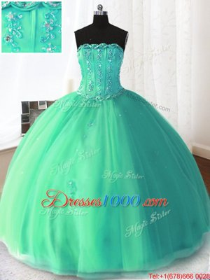 Turquoise Tulle Lace Up Quinceanera Dresses Sleeveless Floor Length Beading and Appliques
