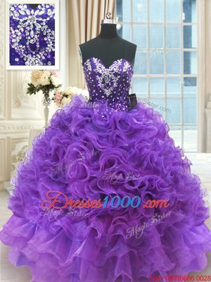 Glorious Organza Sleeveless Floor Length Sweet 16 Quinceanera Dress and Beading and Ruffles
