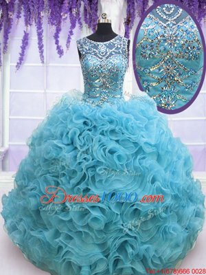 Custom Fit Square Sleeveless Beading and Ruffles Lace Up Sweet 16 Dress with Baby Blue