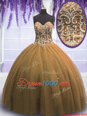 Fantastic Red Organza Lace Up Quince Ball Gowns Sleeveless Floor Length Beading