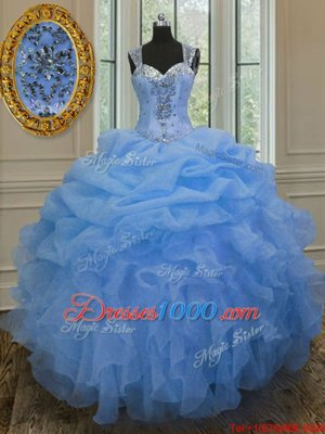 Straps Straps Floor Length Zipper Sweet 16 Dress Blue and In for Military Ball and Sweet 16 and Quinceanera with Beading and Ruffles