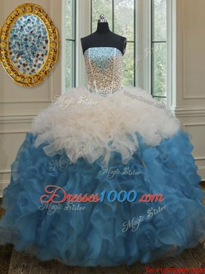 Free and Easy Sweetheart Sleeveless Organza Ball Gown Prom Dress Beading and Ruffles Lace Up