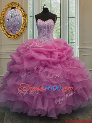 Rose Pink Lace Up Quinceanera Gowns Beading and Ruffles and Pick Ups Sleeveless Floor Length