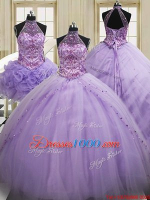 Sumptuous Three Piece Halter Top Lavender Lace Up Sweet 16 Dresses Sequins Sleeveless Brush Train