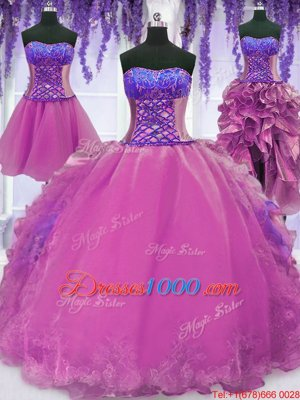 Four Piece Sleeveless Lace Up Floor Length Appliques and Embroidery Quinceanera Gowns