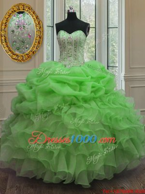 Popular Pick Ups Sweetheart Sleeveless Lace Up Quinceanera Dress Organza