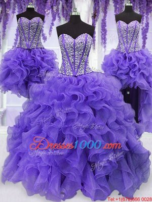 Vintage Four Piece Lavender Sleeveless Floor Length Embroidery and Ruffles and Ruffled Layers and Sashes|ribbons Lace Up Quinceanera Gown