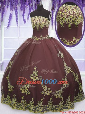 Best Selling Strapless Sleeveless Tulle 15 Quinceanera Dress Lace and Appliques Zipper