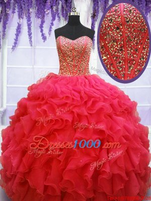 Edgy Sleeveless Organza Floor Length Lace Up Quince Ball Gowns in Coral Red for with Beading and Ruffles