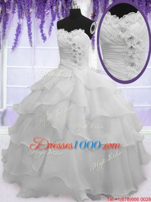 Affordable Ruffled Silver Sleeveless Organza Lace Up Quince Ball Gowns for Military Ball and Sweet 16 and Quinceanera