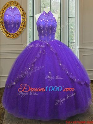 Floor Length Lace Up Sweet 16 Dress Purple and In for Military Ball and Sweet 16 and Quinceanera with Beading and Appliques