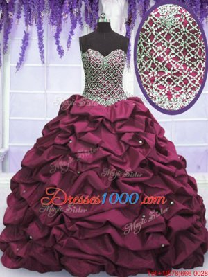 Sequins Pick Ups Burgundy Sleeveless Taffeta Lace Up Vestidos de Quinceanera for Military Ball and Sweet 16 and Quinceanera